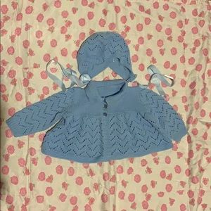 Vintage 1970's Hand Knit Baby Cardigan and Bonnet